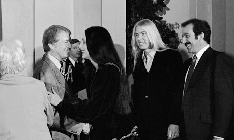 President Jimmy Carter greets Cher and Greg Allman in 1977