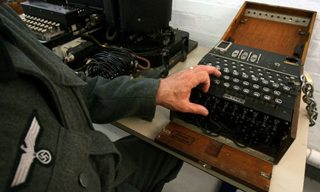 Actor dressed as German soldier shows use of Enigma machine in Bletchley Park Museum