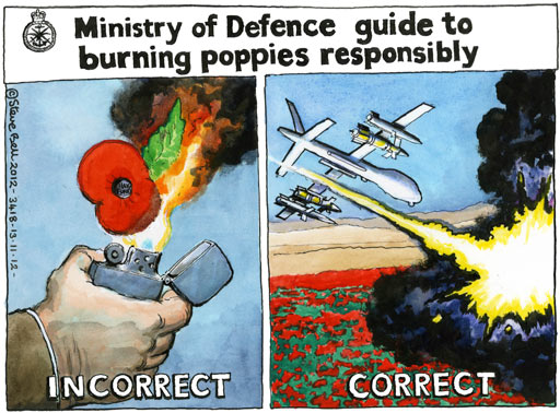 13.11.12: Steve Bell on teenager's arrest for posting burning poppy picture on Facebook