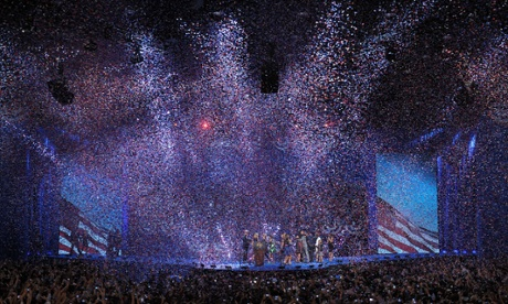 Confetti falls during a celebration of the re-election of US President Barack Obama on election night.
