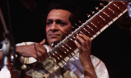 Ravi Shankar in 1971 performing at the Concert for Bangladesh, New York