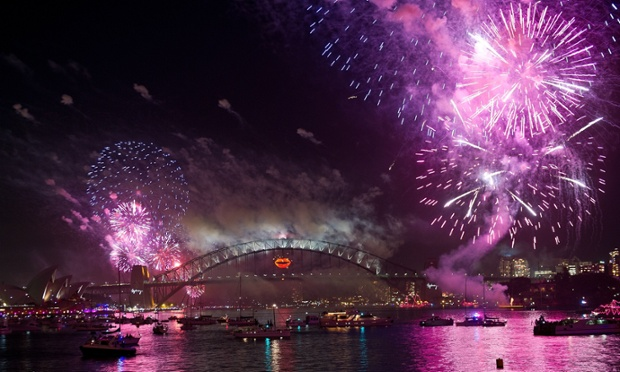 New Year's Eve fireworks erupt over the Sydney Harbour Bridge