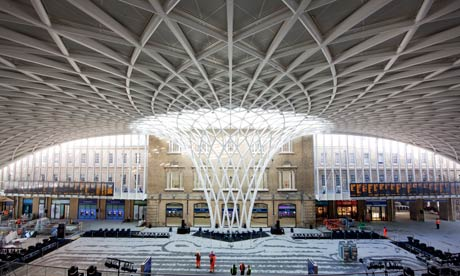 Interior view of the new concourse and roof at Kings Cross Station