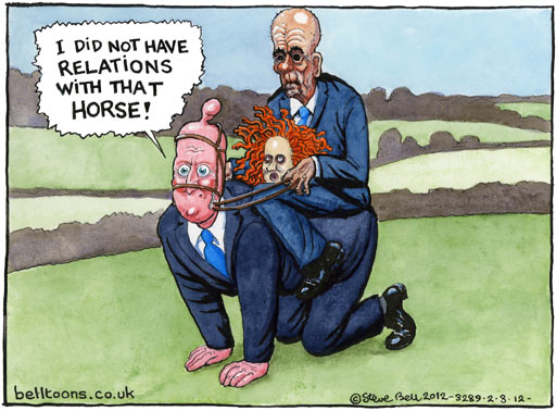 Cartoon by Martin Rowson about the News International scandals, Rubert Murdoch and David Cameron, and Rebekah Brooks