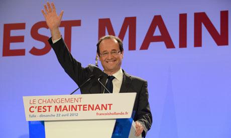 Socialist party presidential candidate Françcois Hollande