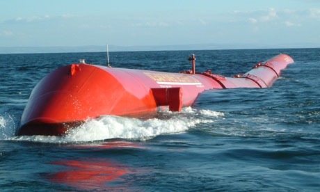 Pelamis renewable energy wave power generator,