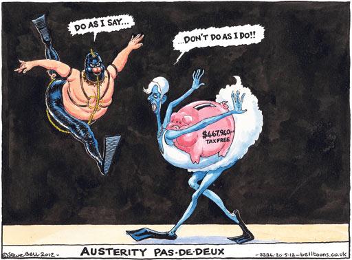 Christine Lagarde and austerity, cartoon