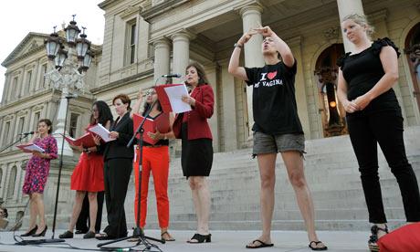 Rep Lisa Brown reading 'The Vagina Monologues' in Lansing, Michigan