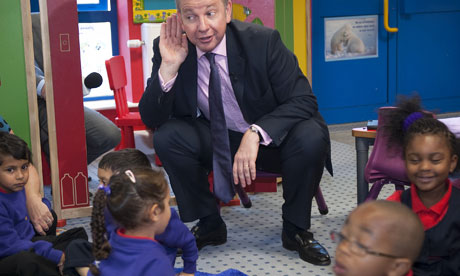 Education secretary, Michael Gove, at the Woodpecker Hall Primary Academy free school in London