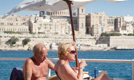 Elderly british couple in Malta
