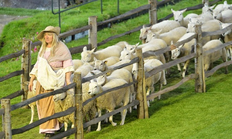 Sheep are led in to the Olympic Stadium prior to the start of the London 2012 opening ceremony