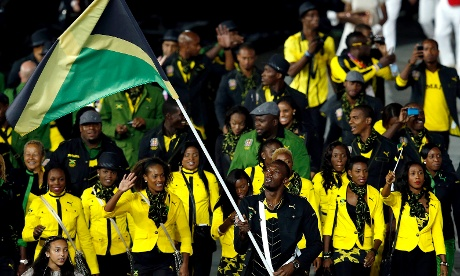 Usain Bolt leads in the Jamaican team at the London 2012 opening ceremony
