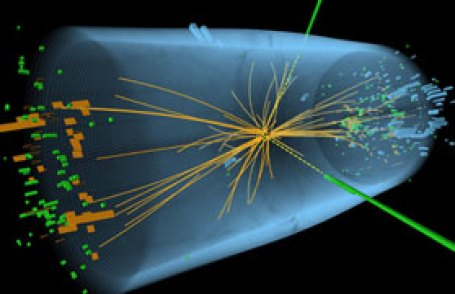 A representation of traces of a proton-proton collision in the search for the Higgs boson
