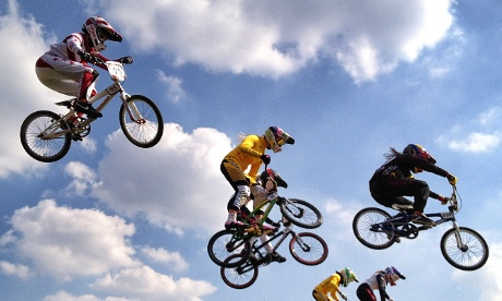 The Women's BMX semi-final took place in brillant sunny conditions