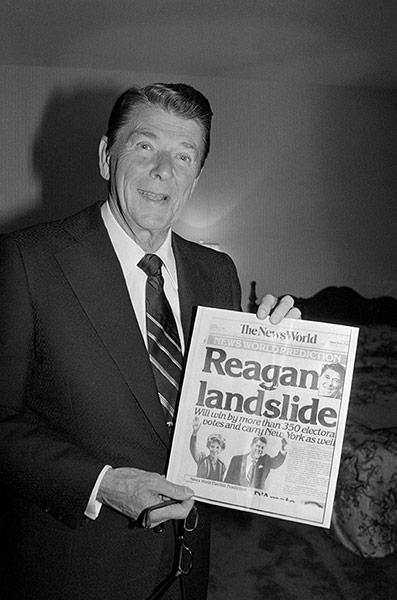 10 best: Ronald Reagan Presenting Victory Headlines