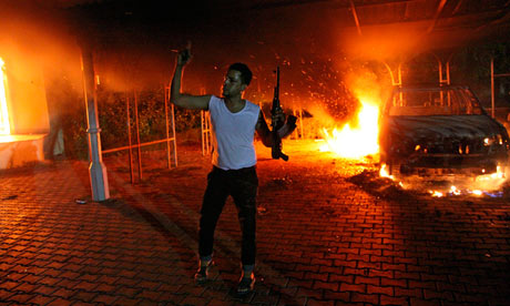 Outside the Benghazi consulate in Libya 11th September 2012