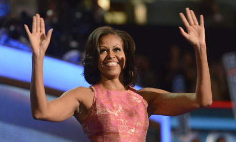 Michelle Obama acknowledges the cheering crowd during her speech at Democratic national convention