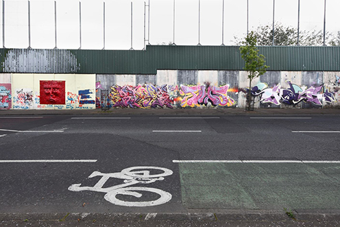 A graffiti-covered peace wall in Belfast