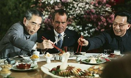 Richard Nixon with Zhou Enlai and Chang Chun-chiao