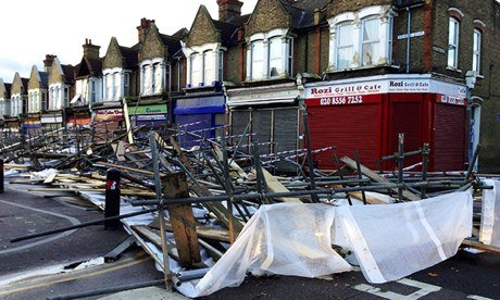 Collapsed scaffolding in Leyton, east London.