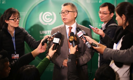 COP19 in Warsaw : Su Wei (C), deputy chief of the Chinese delegation