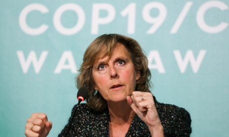 Connie Hedegaard gestures during a press conference at the UN Climate Change Conference in Warsaw, Poland.