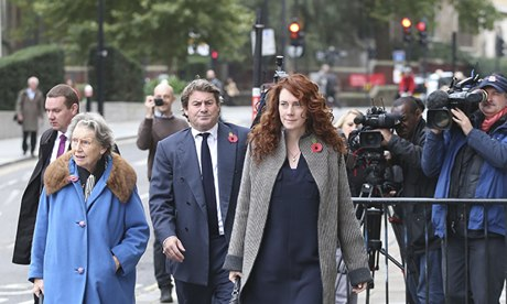 Rebekah and Charlie Brooks arrive at the Old Bailey in London
