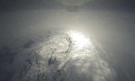 Drone's eye view of hurricane