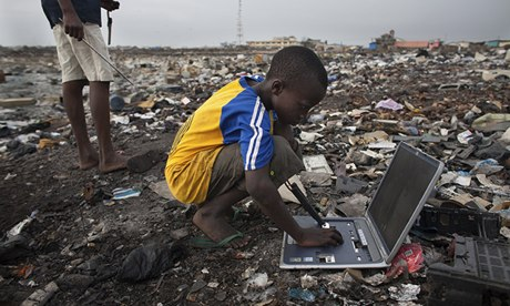 Electronic waste in Agbogbloshie dump, Accra, Ghana.