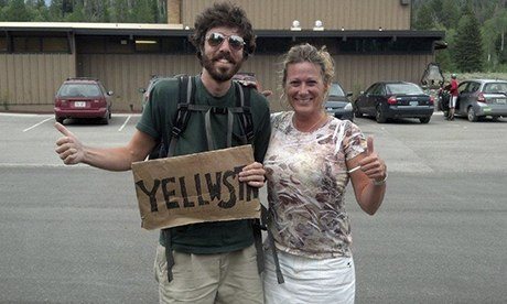 Amien Essif hitchhiking in yellowstone