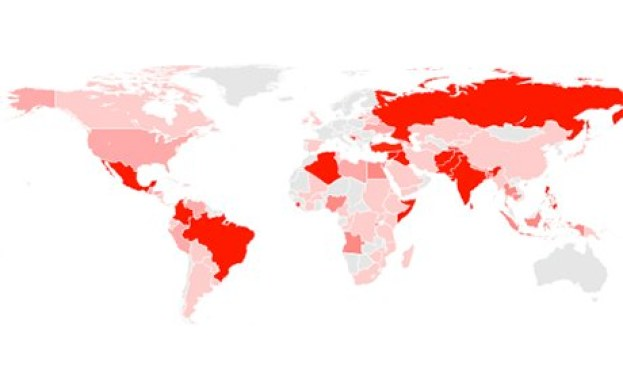 Journalists killed since 1992 map