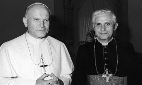 Pope John Paul II with Cardinal Joseph Ratzinger in 1979