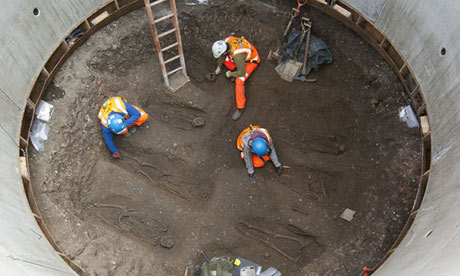 Plague victims' skeletons are unearthed during the constructions of the Crossrail link in London