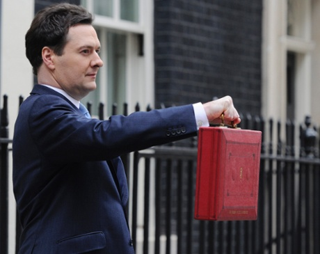 Britain's Chancellor of the Exchequer (Minister of Finance) George Osborne poses with his red despatch box outside his official residence 11 Downing street in  London,  20 March 2013 prior to delivering his budget to the House of Commons, Westminster later in the day.  EPA/FACUNDO ARRIZABALAGA