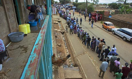 People queue to vote in Nairobi during the Kenyan elections