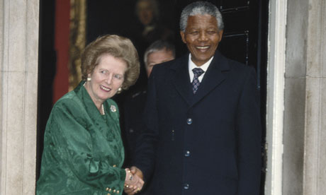 Margaret Thatcher and Nelson Mandela
