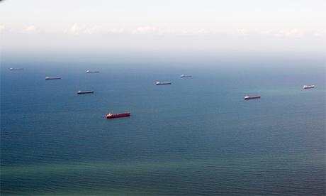 Coal ships waiting off the coast of Gladstone