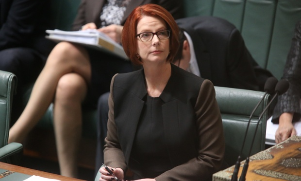 Julia Gillard takes her seat in parliament