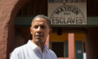 Barack Obama outside slave house