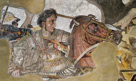 Mosaic depicting warrior on horse