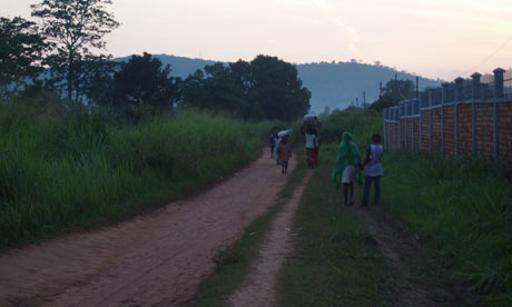 A Central African Republic road at dusk