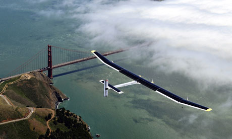 The Solar Impulse glides over the Golden Gate Bridge in San Francisco