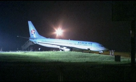 The Korean Air plane that overshot the runway at Niigata airport in Japan