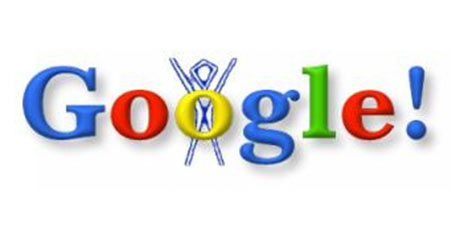 The first Google Doodle from 1998 – incorporating the Burning Man logo.