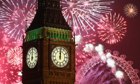 Fireworks light up the London skyline and Big Ben to mark the new year.