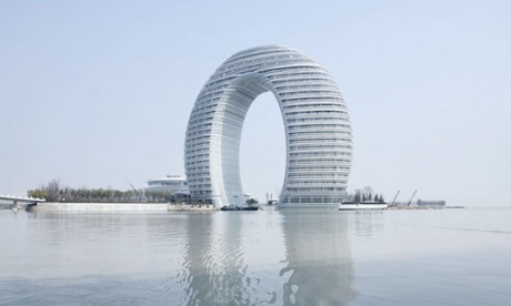 Iconic ring-shape … the Sheraton Huzhou is inspired by the form of a humpback bridge.