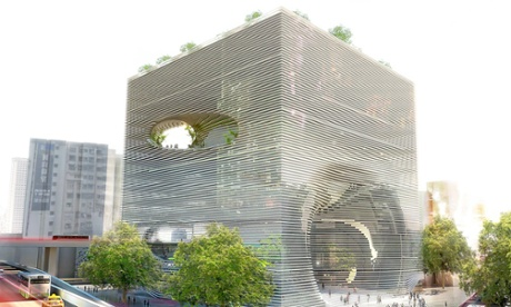 Swiss cheese … BIG's design for a technology centre in Taiwan features a spiraling public route cut through the building.