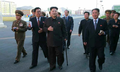 Kim Jong-un using a walking stick in a photograph from North Korea's official Rodong Sinmun newspaper.
