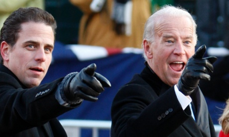 Hunter Biden with father Joe in Washington after  President Barack Obama's inauguration in 2009.