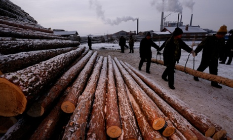 Forestry workers lifting logs early in the morning, Heilongjiang Province, China.